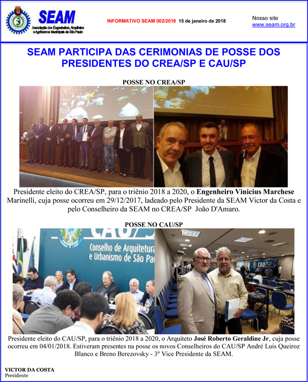 002 – SEAM PARTICIPA DAS CERIMONIAS DE POSSE DOS PRESIDENTES DO CREA/SP E CAU/SP