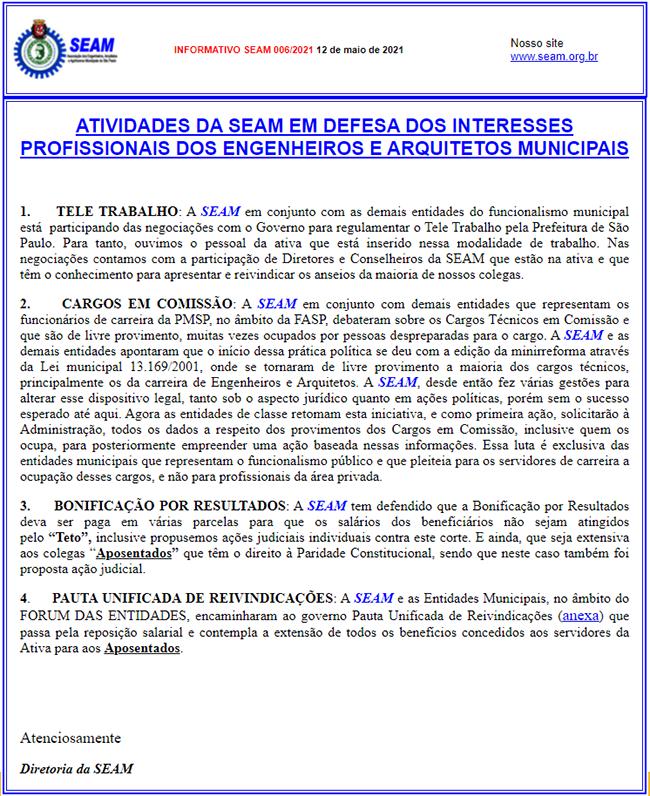 006 –  ATIVIDADES DA SEAM EM DEFESA DOS INTERESSES PROFISSIONAIS  DOS ENGENHEIROS E ARQUITETOS MUNICIPAIS