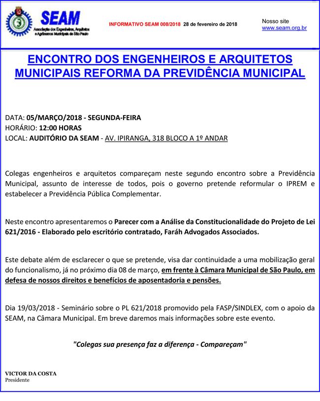 008 – ENCONTRO DOS ENGENHEIROS E ARQUITETOS MUNICIPAIS REFORMA DA PREVIDÊNCIA MUNICIPAL