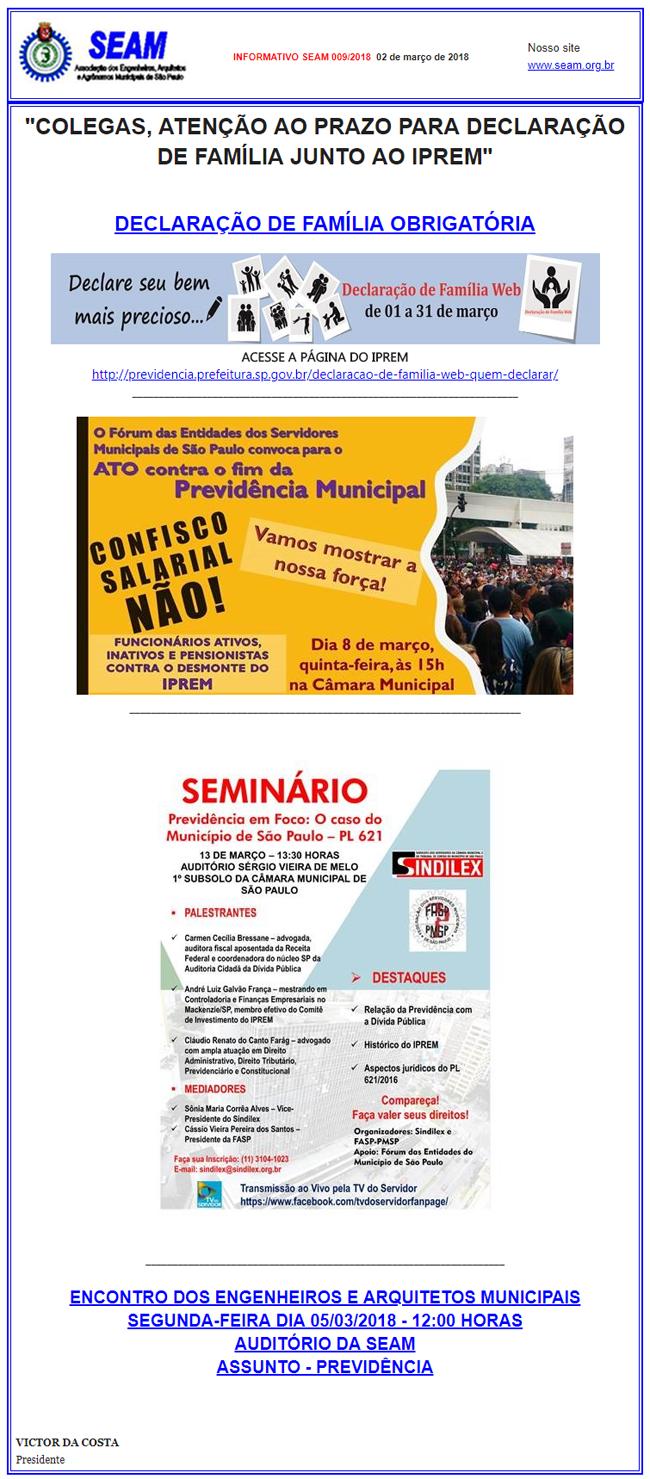 009 – COLEGAS, ATENÇÃO AO PRAZO PARA DECLARAÇÃO DE FAMÍLIA JUNTO AO IPREM
