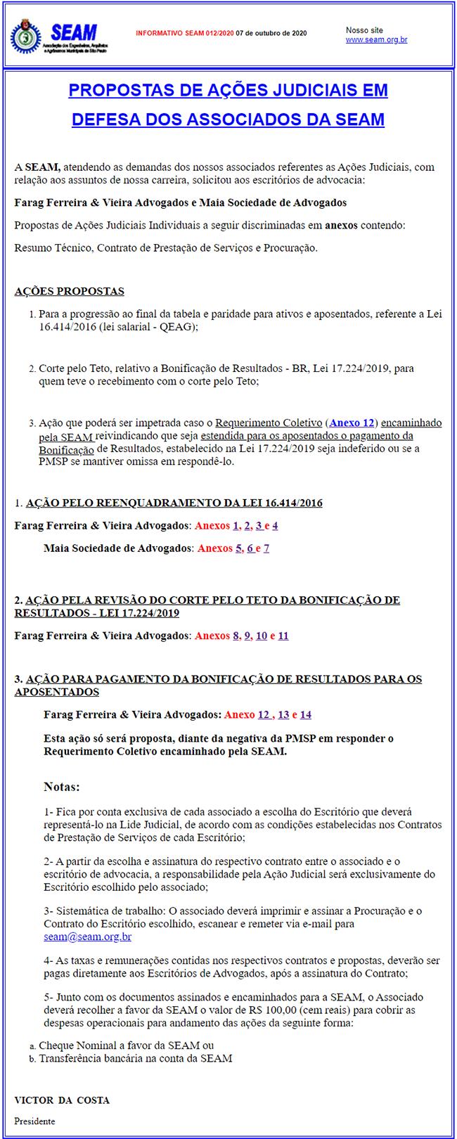 012 – PROPOSTAS DE AÇÕES JUDICIAIS EM  DEFESA DOS ASSOCIADOS DA SEAM