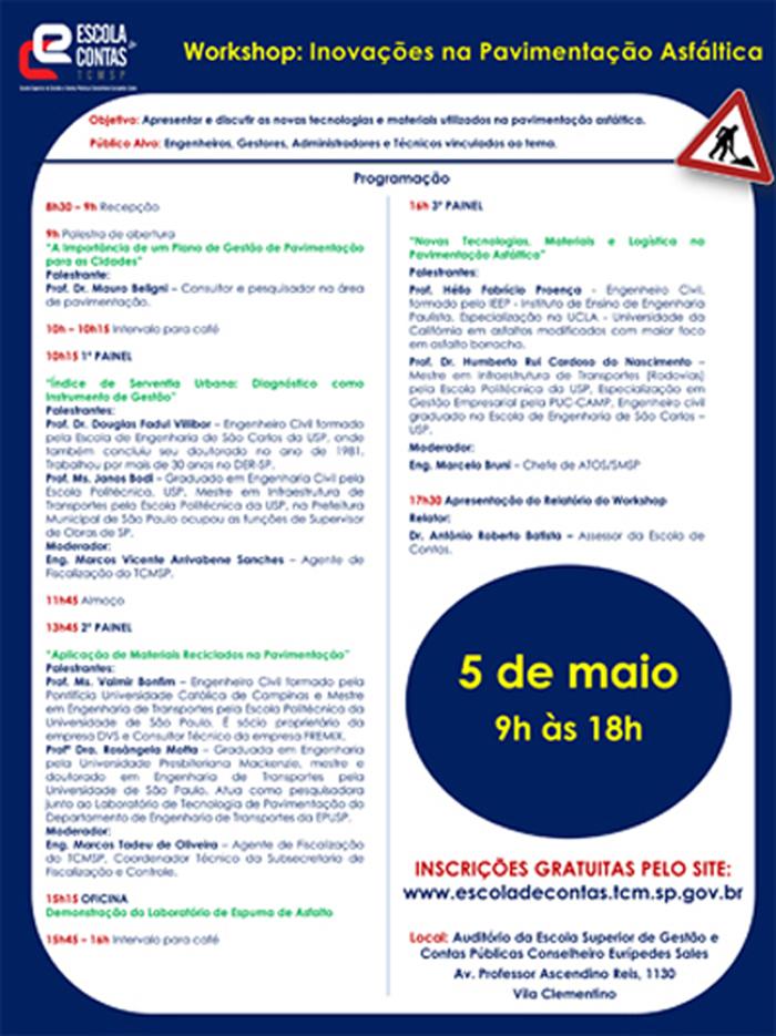 032 2016 – WORKSHOP: INOVAÇÕES NA PAVIMENTAÇÃO ASFÁLTICA