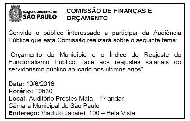 034 2016 – Convite para Audiência Pública Comissão de Finanças e Orçamento