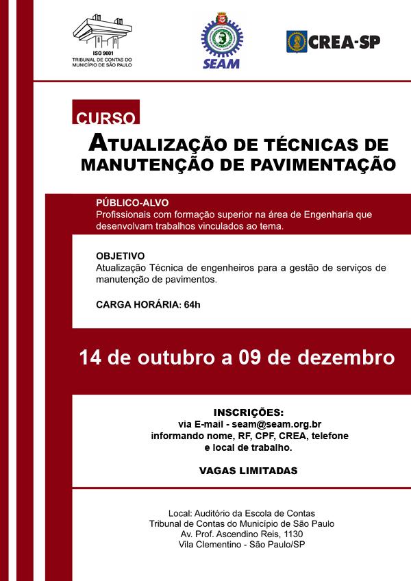 079 2015 – CURSO: Atualização de Técnicas de Manutenção de Pavimentação