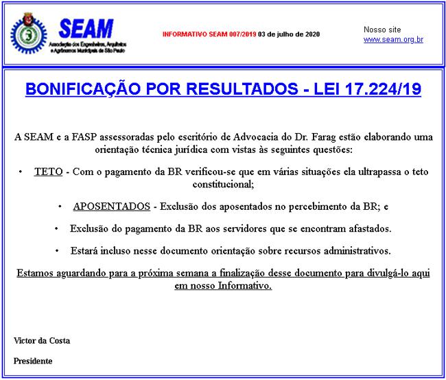 007 – BONIFICAÇÃO POR RESULTADOS – LEI 17.224/19