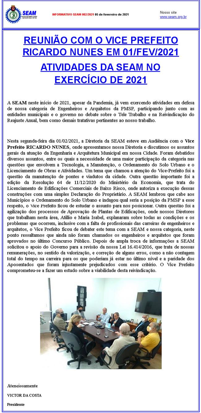 002 –  REUNIÃO COM O VICE PREFEITO RICARDO NUNES EM 01/FEV/2021 ATIVIDADES DA SEAM NO  DO EXERCÍCIO DE 2021