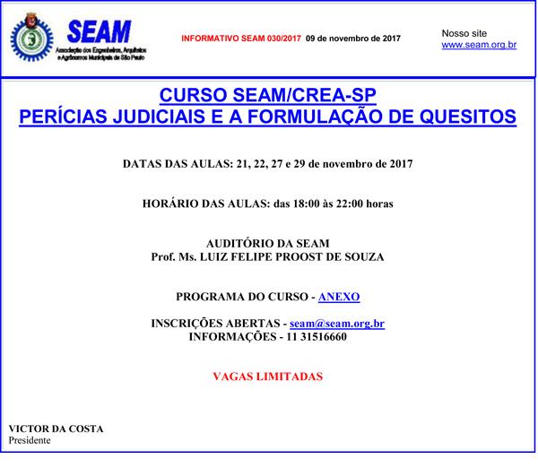 030 – CURSO SEAM/CREA-SP PERÍCIAS JUDICIAIS E A FORMULAÇÃO DE QUESITOS