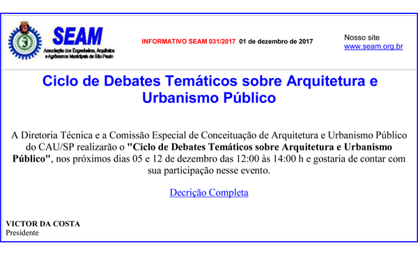 031 – Ciclo de Debates Temáticos sobre Arquitetura e Urbanismo Público