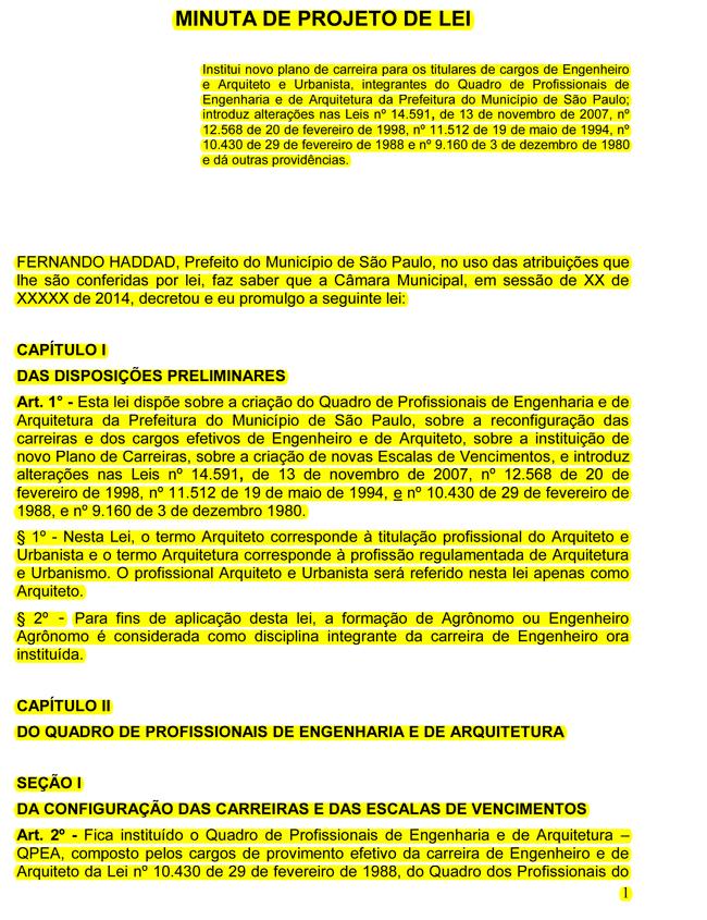 Minuta de proposta de Restruturação para Engenheiros e Arquitetos aprovada em Assembleia (21/07/2014) encaminhada ao Governo.