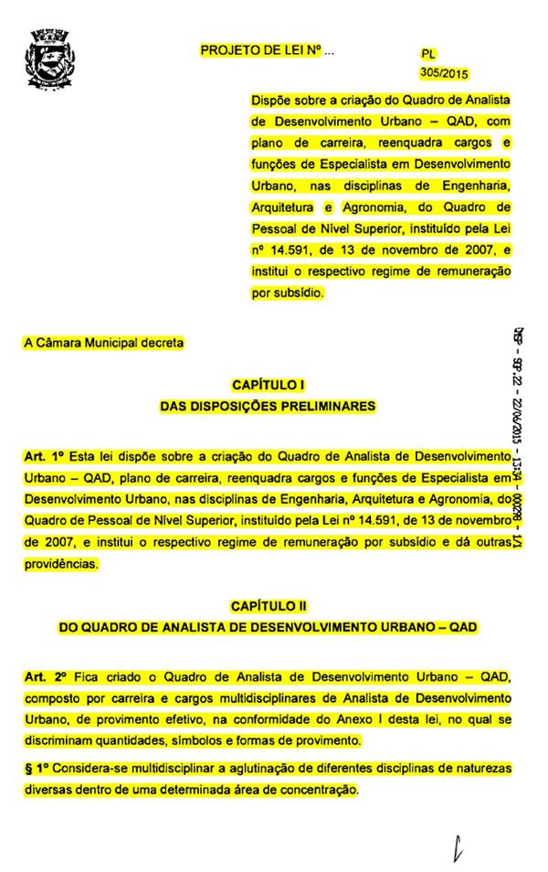 Governo encaminha a CMSP o PL 305/2015 que trata da reestruturação de nossa carreira