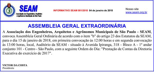 001 – ASSEMBLEIA GERAL EXTRAORDINÁRIA