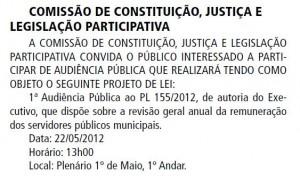 018-2012  Marcada Audiência Pública para o PL 155/2012 (0,01%)