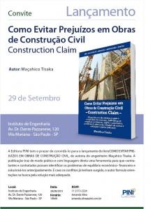 036-2011  Convite – Lançamento do Livro: Como Evitar Prejuízos em Obras de Construção Civil
