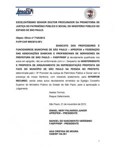 048-2012  Recurso contra o arquivamento da representação junto ao Ministério Público impetrado pela FASP/APROFEM sobre os reajustes anuais na PMSP