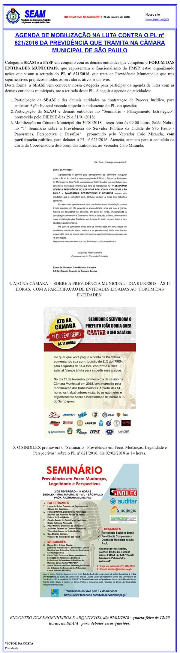 003 – AGENDA DE MOBILIZAÇÃO NA LUTA CONTRA O PL nº 621/2016 DA PREVIDÊNCIA QUE TRAMITA NA CÂMARA MUNICIPAL DE SÃO PAULO