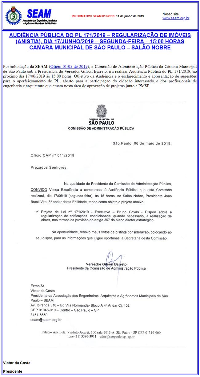 010 – AUDIÊNCIA PÚBLICA DO PL 171/2019 – REGULARIZAÇÃO DE IMÓVEIS (ANISTIA), DIA 17/JUNHO/2019 – SEGUNDA-FEIRA – 15:00 HORAS CÂMARA MUNICIPAL DE SÃO PAULO – SALÃO NOBRE