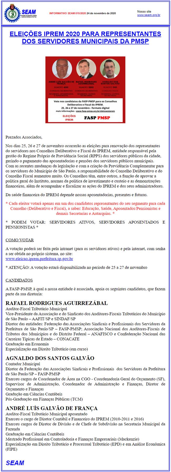 015 – ELEIÇÕES IPREM 2020 PARA REPRESENTANTES DOS SERVIDORES MUNICIPAIS DA PMSP