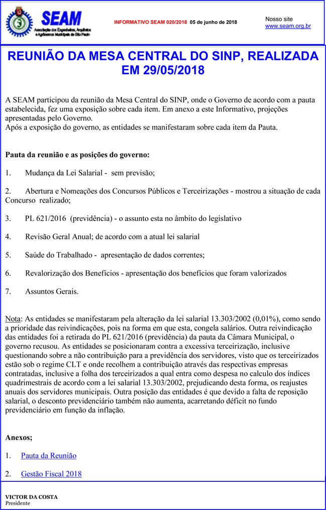 20 – REUNIÃO DA MESA CENTRAL DO SINP, REALIZADA EM 29/05/2018
