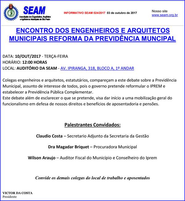 024 – ENCONTRO DOS ENGENHEIROS E ARQUITETOS MUNICIPAIS REFORMA DA PREVIDÊNCIA MUNCIPAL