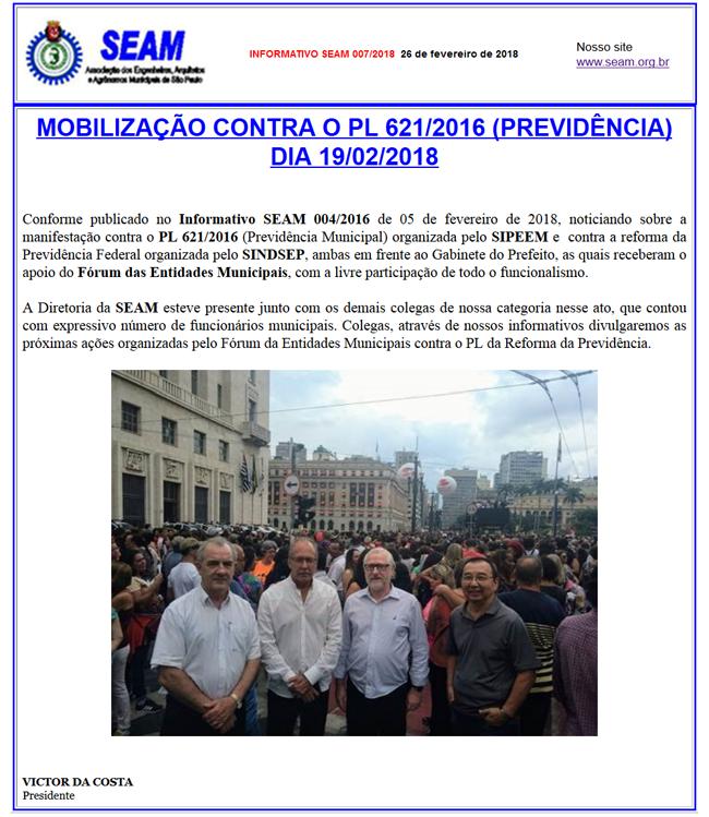 007 – MOBILIZAÇÃO CONTRA O PL 621/2016 (PREVIDÊNCIA)    DIA 19/02/2018