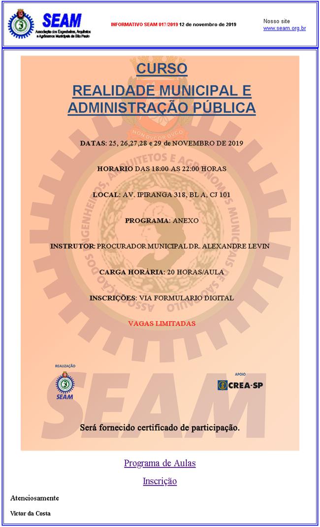 017 – CURSO REALIDADE MUNICIPAL E ADMINISTRAÇÃO PÚBLICA