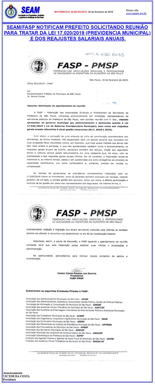 004 – SEAM/FASP NOTIFICAM PREFEITO SOLICITANDO REUNIÃO PARA TRATAR DA LEI 17.02/2019 (PREVIDENCIA MUNICIPAL)  E DOS REAJUSTES SALARIAIS ANUAIS.