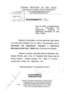 055-2011  Câmara Municipal de São Paulo Homenageia a SEAM pelos 75 anos de sua Fundação