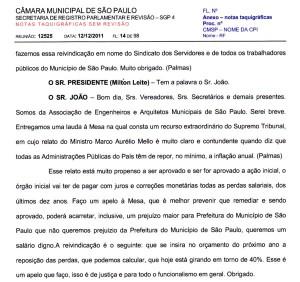 056-2011  SEAM se pronuncia na Audiência Pública da Câmara Municipal de São Paulo, do dia 12/12/2011, sobre o PL 479/2011 Orçamento 2012